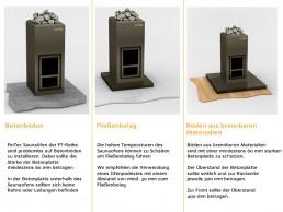 FinTec Holz-Saunaofen Standard-Serie Bodenbeschaffenheit