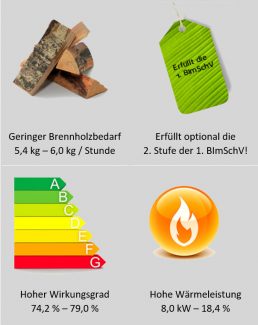 Emissionswerte Holz-Saunaofen FinTec Standard-Serie